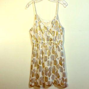 ARYN K. Gold Silver Ivory Cocktail Mini Dress M